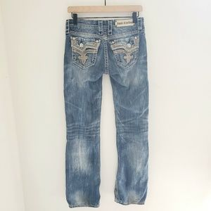 Rock Revival Midwash Kai Bootcut Embroidered Jeans